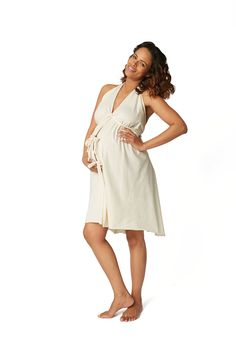 569b7eb5b1d08 Pretty Pushers birthing gown in unbleached cotton Hospital Bag Essentials,  Packing Hospital Bag, Pregnancy