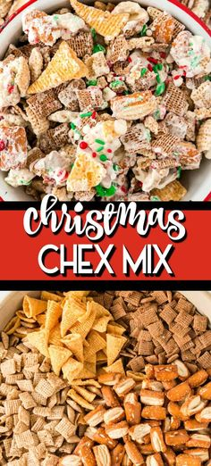 This Chex Mix recipe Christmas Crack is the perfect DIY holiday treat! The mix of sweet and salty with a hint of peppermint is so good. The perfect party mix made up of Pretzels whit chocolate bugles peppermint candy and of course christmas sprinkles! Christmas Sprinkles, Christmas Crack, Christmas Candy, Christmas Treats, Christmas Baking, Christmas Desserts, Christmas Chex Mix, Christmas Cookies, Xmas Food