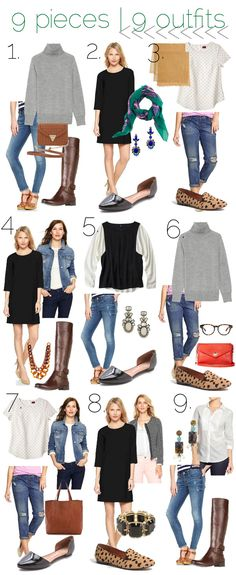 Fall: 9 pieces, 9 outfits -  grey sweater, skinny distressed jeans, black dress, polka dot tee, boyfriend jeans, denim jacket, black and white color blocked top, tweed jacket, tuxedo style top, riding boots, orsay flats, leopard loafers