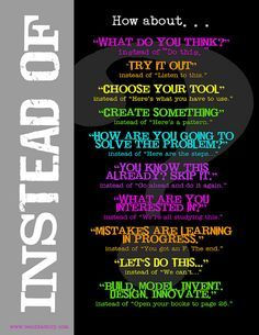 Instead of….things to say in class #edchat #elemchat