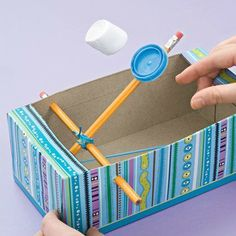 Marshmallow Catapult ~ These would be so fun to create during force and motion lessons! Students can play this hands-on activity while learning about force and motion! Maybe students can see whose marshmallow goes farther. Educational Activities For Kids, Craft Activities, Preschool Crafts, Indoor Activities, Indoor Games For Kids, Summer Activities, Kids Educational Crafts, Preschool Learning, Learning Tools