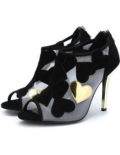 Black+Gold+Peep+Toe+Heart+Patch+High+Heel+Shoes+69.17