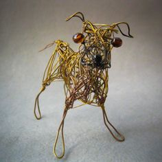 Black Mouth Cur Buckskin  Metal Dog  Wire Figurine by WireArtInk, $25.00