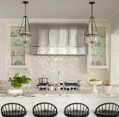beveled White Subway Tile Kitchen Backsplash with white cabinets Kitchen Hoods, New Kitchen, Kitchen White, Ivory Kitchen, Crisp Kitchen, Kitchen Floor, Kitchen Layout, Interior Exterior, Interior Design