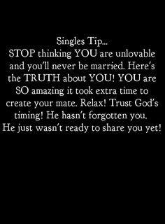 I love this! People need to realize it's okay to be single.