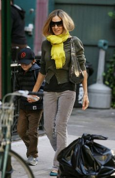 Sarah Jessica Parker Solid Scarf - Sarah was spotted strolling the streets of NYC with her son James wearing a bight sunny scarf.
