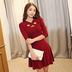 Weika moda de las mujeres cortó el vestido largo de la manga delgada sexy - EUR € 12.89