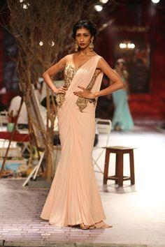 Monisha Jaising at India Couture Week 2014 - soft baby pink sari with gold strapless blouse