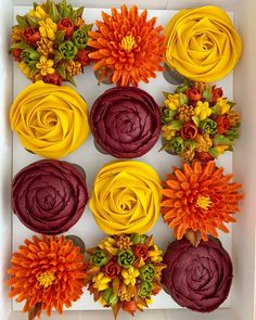 Autumn colours in these stunning buttercream flowers cupcakes 🍁🍂 By - - - . Cupcakes Design, Floral Cupcakes, Pretty Cupcakes, Wedding Cakes With Cupcakes, Cake Designs, Cupcake Cakes, Floral Cake, Icing Flowers, Buttercream Flowers