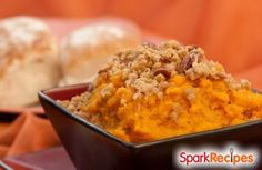 My husband likes sweet potato casserole.  I decided to make this using the same flavors but without the marshmallows!Serves 4