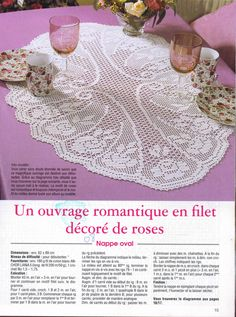 Oval tablecloth with roses