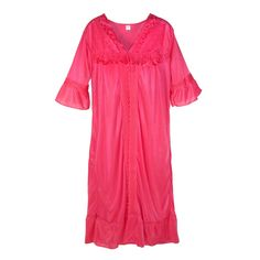CTM Women's Lace Trim Robe and Gown Set