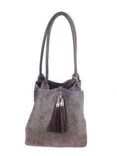 Lyn, Reversible Italian leather handbag. Black leather/grey suede, reversed