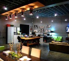 Looking for Living Space and Home Office ideas? Browse Living Space and Home Office images for decor, layout, furniture, and storage inspiration from HGTV. Home Office Design, Home Office Decor, Home Decor, Office Ideas, Portfolio Design, Home Office Lighting, Track Lighting, Loft Lighting, Ceiling Lighting