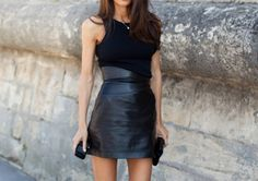 half leather half plain little black dress lbd