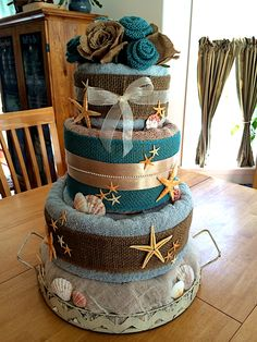 Towel cake beach theme