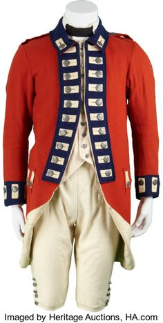 The Patriot Screen-Worn British Soldier's Uniform. Featured in the Oscar-nominated Revolutionary War epic, - Available at 2010 April Signature Music &. British Army Uniform, British Soldier, American Revolutionary War, American Civil War, Red Coat Outfit, Wrangler Shirts, Civil War Photos, Period Outfit, Military Uniforms