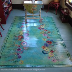 Something like this for Anna O? Walking in Beauty Floor Cloth by Sharon Tomlinson. Click over to see many more photos of this floor cloth. Painted Floor Cloths, Painted Rug, Painted Floors, Painted Furniture, Concrete Furniture, Concrete Lamp, Kid Furniture, Stained Concrete, Furniture Design