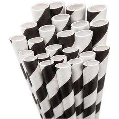 Jumbo Straw Unwrapped, 7-3/4 inch, 50/Pkg, Black