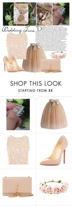 """""""Wedding guest3"""" by aliss90 ❤ liked on Polyvore featuring Millà , Balmain, Chicwish, Lace & Beads, Christian Louboutin, Yves Saint Laurent and Forever 21"""