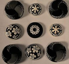 9 VINTAGE BLACK & WHITE BUFFED CELLULOID PLASTIC BUTTON SHANKS 5/8