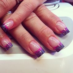 Acrylic nails with glitter embedded