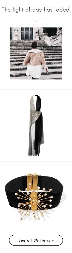 """""""The light of day has faded."""" by lucieednie ❤ liked on Polyvore featuring dresses, silver, see through dress, silk chiffon dress, asymmetrical dress, transparent dress, asymmetric wrap dress, jewelry, necklaces and pearl choker necklace"""