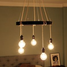 Exposed Bulb Pendant Chandelier Lighting Fixture Beige by ljosme, $199.00
