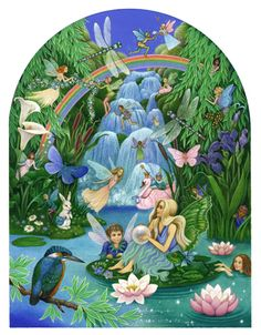 Waterfall Fairy-by Carol Lawson...Born and brought up in Giggleswick, a village in England's Yorkshire Dales..Living in the country, she always loved to draw and paint from nature: flowers, animals, birds - and had a particular interest in fairy tales, which she read constantly.