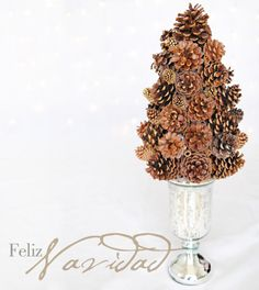 easy to make pinecone Christmas tree decoration