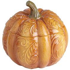 Pumpkin Lidded Bowl - What I've been looking for to serve my pumpkin dip.  Got it today. :)