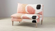 Upholstered Settee | The Land of Nod -- Maybe not for the nursery, but as a replacement for the chairs in the living room.
