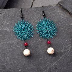 Flower Earrings  Colorful Peacock Blue Boho by StudioDjewelry