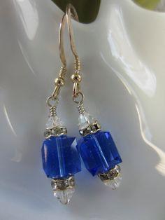 Swarovski Cube Blue Sapphire Dangle Earrings by GemCandyStudio, $15.00