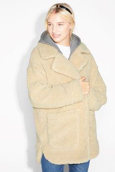 Monki Image 2 of Shearling coat in Beige Light