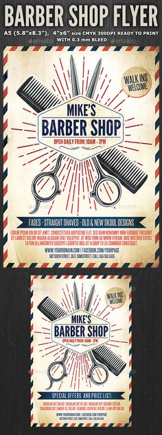 Barber Shop Flyer Template 3 — Photoshop PSD #blue #facials • Available here → https://graphicriver.net/item/barber-shop-flyer-template-3/11405459?ref=pxcr