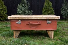 Vintage Suitcase coffee table, storage coffee table, repurposed table, industrial rustic home decor, pallet by PriosTeam on Etsy