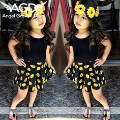 Floral Designs Dresses For Girls Children girls clothing sets T-shirt +Flower Printed Skirt Kids baby girls Clothes Little Girl Outfits, Cute Outfits For Kids, Little Girl Fashion, Toddler Outfits, Cute Kids, Fashion Kids, Toddler Fashion, Outfits Niños, Party Dress Outfits