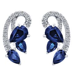 14k White Gold Lusso Color Style  Stud Earrings With  Diamond  With  And Sapphire.
