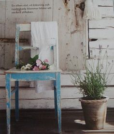 Patio - distressed chair and herbs