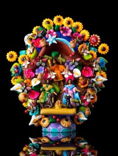 NATIVITY-HAND-MADE-CLAY-TREE-OF-LIFE-MEXICAN-FOLK-ART-COLLECTION-PIECE-TL3