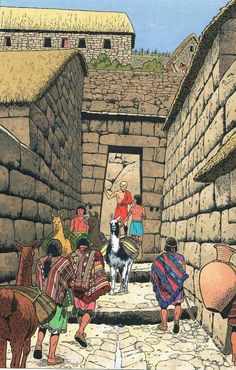 Inca Architecture, Historical Architecture, Inca Empire, Inka, Fantasy City, Mesoamerican, Sword And Sorcery, Illustration, Historical Art