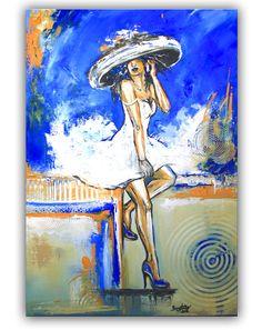 Telefonat - Frau mit Hut, Figürliche Malerei Blau Weiß, Gemälde und Künstler Bild  www.burgstallers-art.de/online-shop