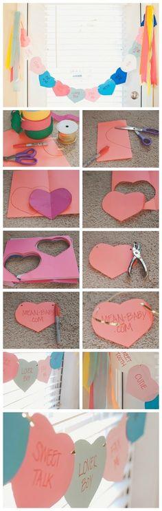 DIY conversation heart banner