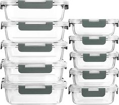 Amazon.com: [10-Pack]Glass Meal Prep Containers with Lids-MCIRCO Glass Food Storage Containers with Lifetime Lasting Snap Locking Lids, Airtight Lunch Containers, Microwave, Oven, Freezer and Dishwasher: Kitchen & Dining Glass Storage Containers, Glass Food Storage, Meal Prep Containers, Storage Baskets, Tapas, Must Have Kitchen Gadgets, How To Stay Healthy, Healthy Kids, Prepping