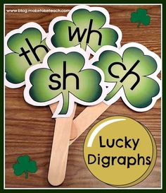 Patrick's Day activity for small group instruction. FREE printable for making your own digraph sticks for the holiday. Kindergarten Literacy, Literacy Activities, Literacy Centers, Preschool, Literacy Stations, Alphabet Activities, Holiday Activities, Educational Activities, Spring School