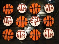 Aggie Basketball Cupcakes Aggie Basketball, Basketball Cupcakes, Cupcake Cakes, Sushi, Ethnic Recipes, Sports, Apron, Cheer, Texas