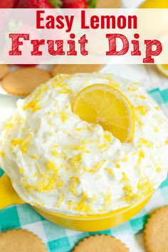 Lemon Cream Cheese Fruit Dip is a perfect mix of sweet and tangy. Easy appetizer with fresh fruit. Serve with cookies for a creamy, no bake dessert recipe. Potluck Desserts, Slow Cooker Desserts, Fruit Appetizers, Bread Appetizers, Spring Desserts, Dessert Dips, Easy No Bake Desserts, Lemon Desserts, Lemon Recipes