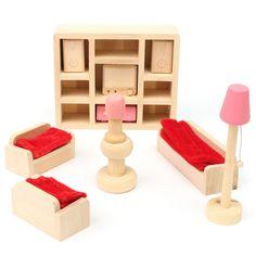 Jogo de madeira da boneca brinquedos para crianças da família casa em miniatura Kit Acessórios móveis - Banggood Móvel