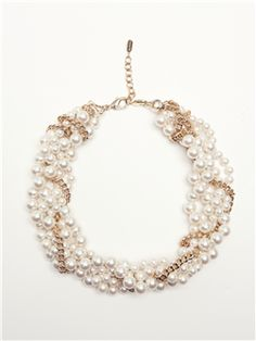 Four Strands Of Hand-Knotted Glass Pearls, Tightly Braided With A Curb-Style Gold Chain Woven In A Zig Zag Pattern.